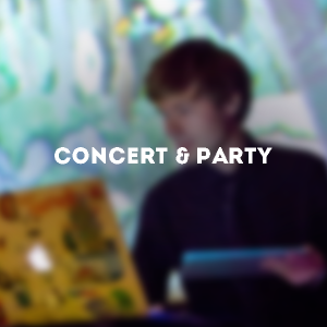 "An image of a young man, C418, on a Macbook. The text on top of the blurry photo says ""Concert & Party"""