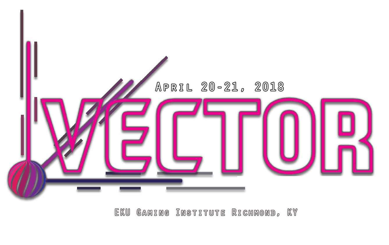 The Vector logo, a series of pink letters spelling out Vector, with the date April 20-21, 2019 and EKU Gaming Institute Richmond KY below.