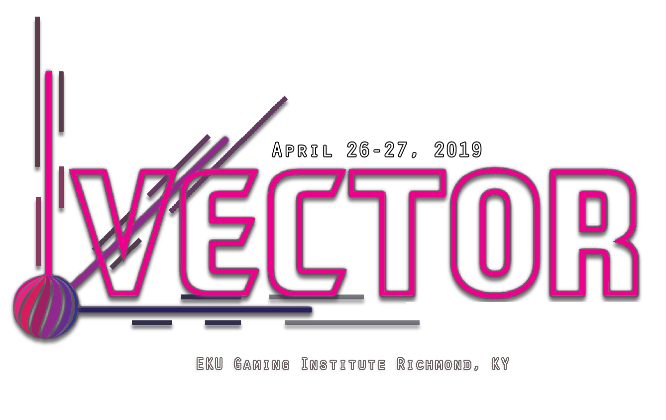 "The vector logo with the text that reads ""April 26-27 2019"" and ""EKU Games Institute, KY"""
