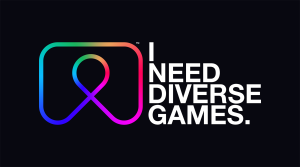 "A black box with white text and a rainbow logo. the white text reads ""I need Diverse Games."""